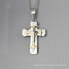 Design exclusivo de três pingente de cruz, pingente de aço inox cruz dos homens