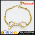 Elegant Crystal Bow Bracelet Fashion Gold Jewelry