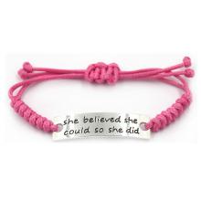 Bracelet inspiré gravé réglable réglable en acier inoxydable rose pour filles