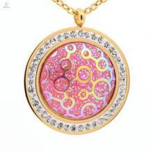 Colorful fashion round stainless steel womens crystal pendant for necklace jewelry