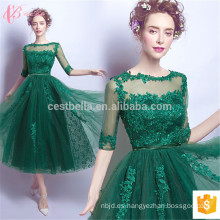 Aqua verde manga corta de cóctel de cóctel de alta moda vestido de noche