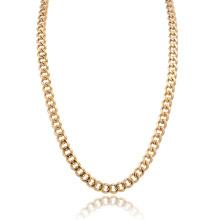 Benutzerdefinierte Größe Herren poliert 14K Gold Edelstahl Panzerkette Halskette