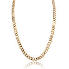 Custom Size Men's Polished 14K Gold Stainless Steel Curb Chain Necklace