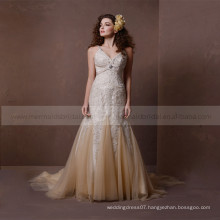 Noble luxury gold spaghetti straps heart line bling beads applique lace lie around full wedding dress