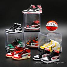 Hot-sale Mini Plastic Yeezy Air Jordan 3D Sneaker Shoe Keychain With Box