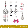 6 pcs Projetos Assorted Aço Cirúrgico 316L Dream Cathcer Vaso De Cristal Dangle Umbigo Anel