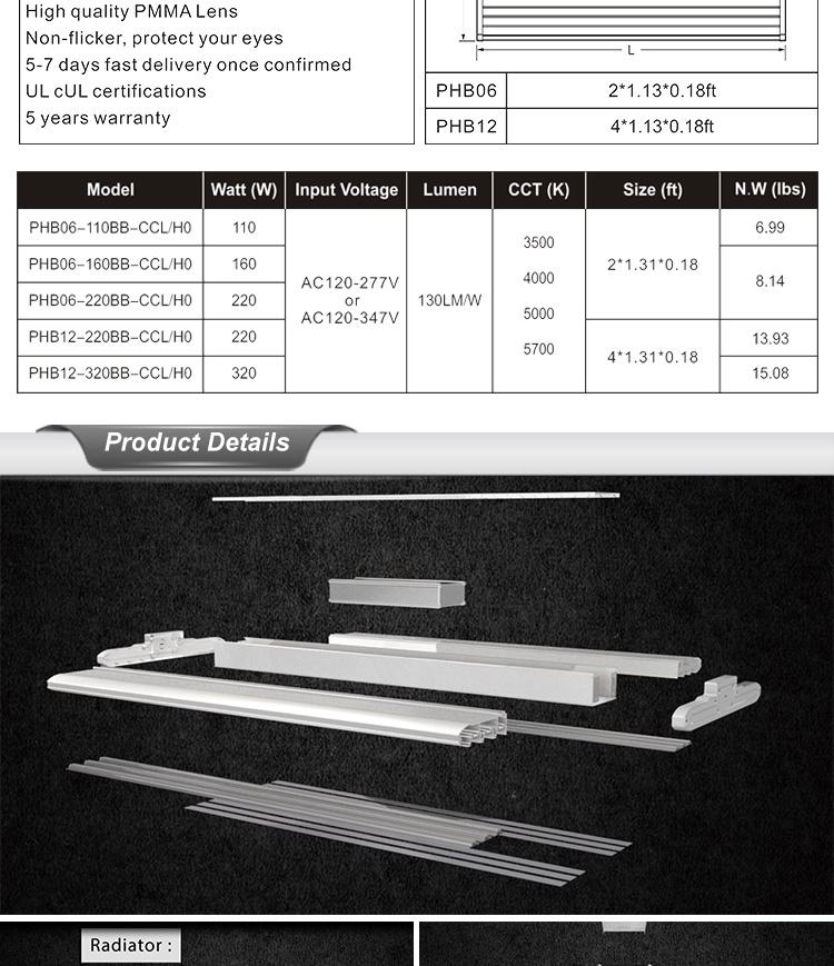Aluminum flat linear high bay light