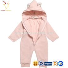 Layette à manches longues pour bébé rose avec fermeture éclair sur le devant