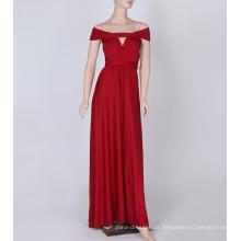 Foi fino e sem costelas cintas longo vestido de dama de honra cor