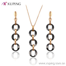 Xuping Fashion Gold-Plated Oval Circles Jewelry Ceramic Set (63829) in Stainless Steel Jewelry