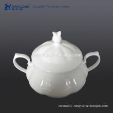 Custom Bone china High brightness White Plain fine ceramic stockpot