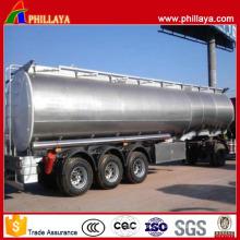 Remolque del tanque del acero inoxidable del transporte del combustible del aceite del Tri-árbol del cuello de cisne