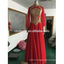 Venta caliente por encargo buena calidad Tulle manga larga vestido de boda islámico musulmán vestido de novia