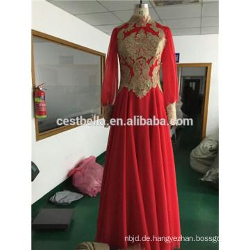 Heißer Verkaufs-nach Maß gutes Qualitäts-Tulle-langes Hülsen-moslemisches Hochzeits-Kleid-islamisches Hochzeitskleid