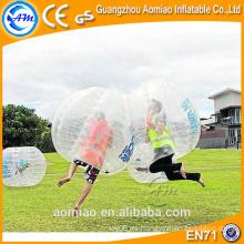 Paseo en bola de burbuja de plástico bola de devolución de la espalda, bola inflable con mango