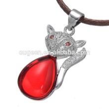 2015 fashion women new design hot sale pave zircon fox pendant necklace silver custom jewelry design