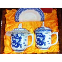 6PC azul e branco porcelana chá set (6615-006)