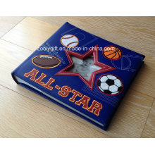 Embroidery PU Leather Photo Album with Star Window