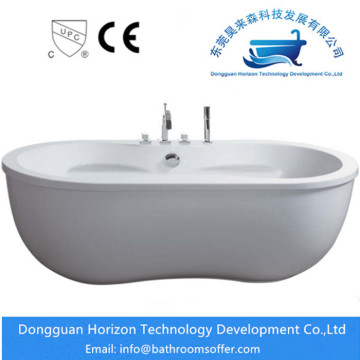 Double bath oval freestanding tub