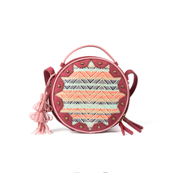 Colorful weaves and vintage rounded bag