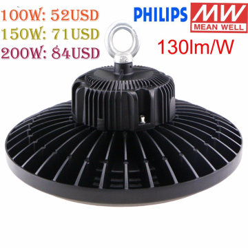 Poder alto da iluminação industrial do diodo emissor de luz do poder superior UFO de Philips SMD3030 100W / 150W / 200W do diodo emissor de luz do UL Meanwell do Ce de TUV