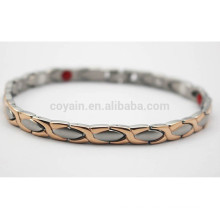 Men Rose Gold And Silver Stainless Steel Two Tone Chain Bracelet