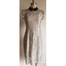 Suéter de algodão Nylon renda feminina com babado manga