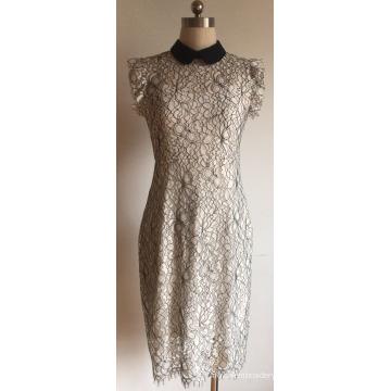 Suéter de manga con volantes de algodón y encaje de nailon para mujer