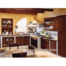 Gabinete de cozinha de madeira de bétula de cor marrom claro de qualidade de alta qualidade