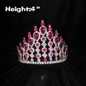 Coronas de concurso de diamantes de imitación de 4 pulgadas con diamantes rosados