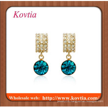 TOP SALE thick gold bezel set crystal stone earring for women