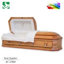 Coin de cercueil en bois sculpté fleur intérieur velours rose moderne