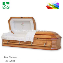 Modern rose velvet interior flower wood carved casket corner