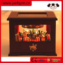Boîte à musique cheval carousel jouet en bois avec lumière led
