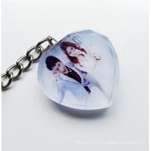 Keychain de cristal do cristal do laser dos presentes de casamento 2015.3D do presente da foto do favor do casamento