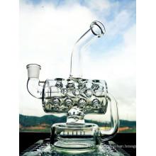 Venta al por mayor nuevo diseño de 8 pulgadas de altura mini tubería de agua de reciclaje portátil de vidrio