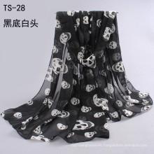 Bufanda de la nueva dama otoño invierno coreano moda bufandas cráneo impreso bufandas