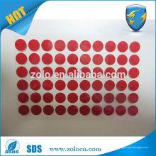 Пользовательские круглые гарантии на изменение цвета, чувствительные к воде наклейки, водостойкая прочная клейкая самоклеющаяся наклейка для печати