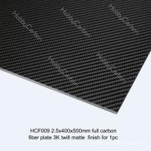 Feuille de fibre de carbone de 100% de 3K / plat pour l'épaisseur de drones / UAV 2.5mm