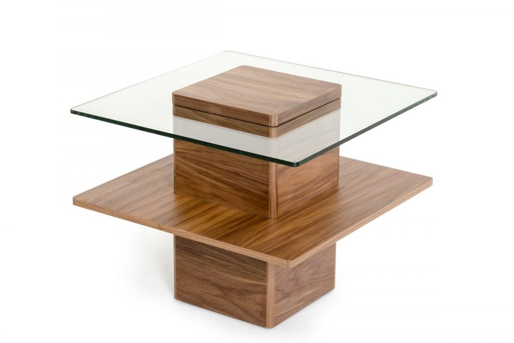 Mid-Century Walnut en Glass End Table