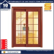 Деревянный интерьер Двойная стеклянная раздвижная деревянная кухонная дверь