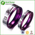 Acier au titane classique violet sculpter vous Couples l'amour anneau avec strass