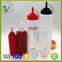 LDPE diferentes volumen de grado alimenticio al por mayor botella vacía de salsa de plástico apretón con tapa de rosca