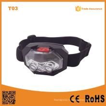 T03 1 LED LED + 2 phares en plastique à LED imperméable à l'eau extérieur torche tête de camping 3 * AAA Battery LED Headlamp