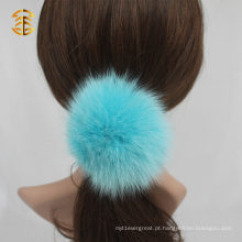 Cute Colorido Real Fox Fur Ball Elastic Hair Accessory Headband