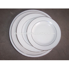 China Made Round Flat porcelain plate with gold rim