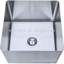 Cuvette droite ou inclinée fabriquée à la main en acier inoxydable 304 pour évier à compartiment