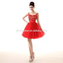 Vestido de noche rojo de Taobao de la gasa del cordón del precio barato del nuevo diseño 2017 para el partido