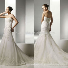 2014 Elegante Ivory Organza Mermaid Vestido De Noiva Com Sweetheart Decote Long Tail Lace Applique Beaded Noiva NB0894