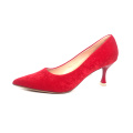 Wholesale hot sale high quality Red velvet slip on women footwear office girl  pump shoes Beautiful pointy fashion